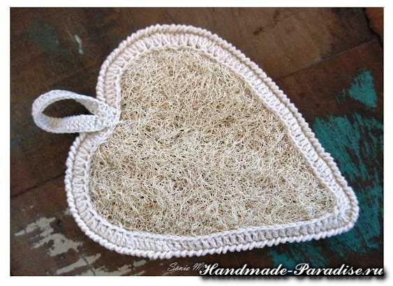 Как обвязать крючком мочалку. Сердце (2)