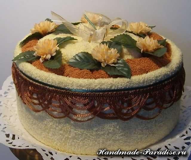 Как сделать торт из полотенец (4)