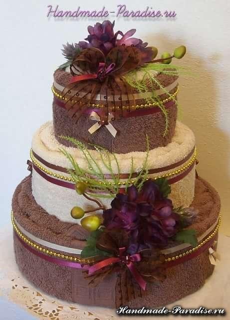 Как сделать торт из полотенец (5)