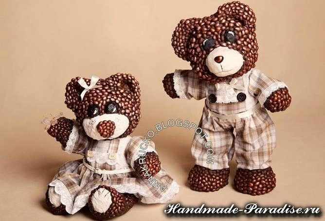 Медведи из папье-маше и кофейных зерен (2)