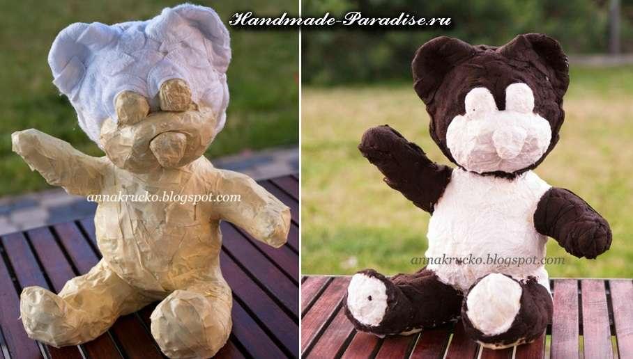 Медведи из папье-маше и кофейных зерен (3)