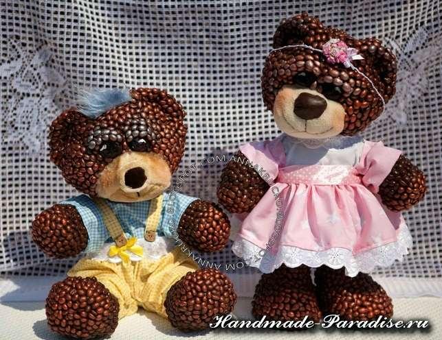 Медведи из папье-маше и кофейных зерен (4)