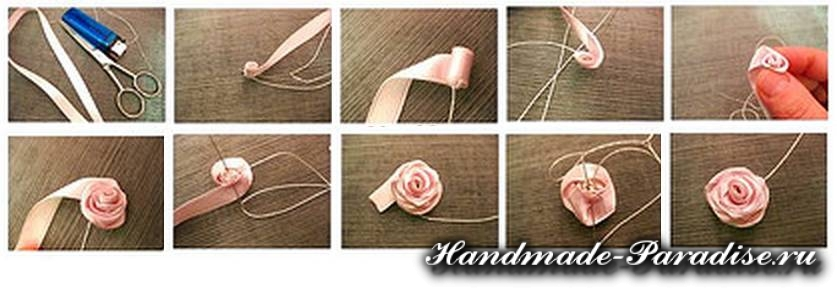 цветы из ленточек и ткани (2)