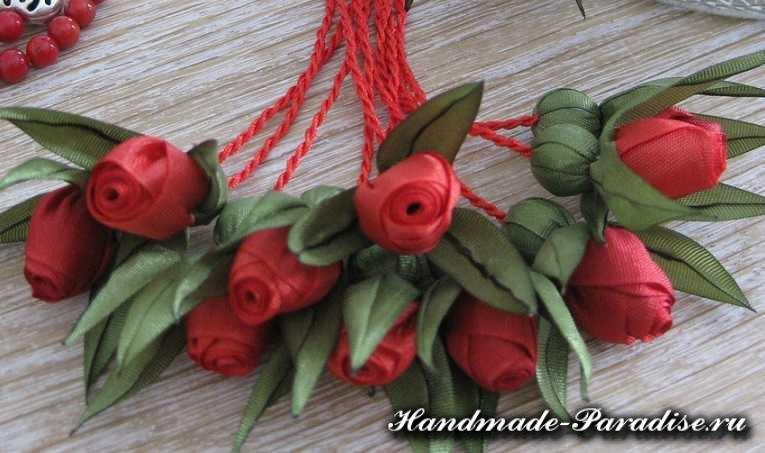 Миниатюрные цветы из ленточек и ткани (5)