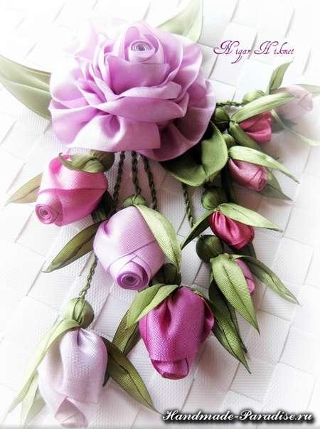 цветы из ленточек и ткани (6)