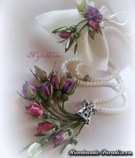цветы из ленточек и ткани (8)