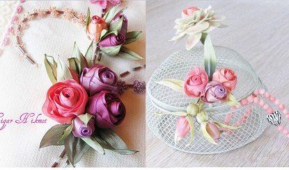 Миниатюрные цветы из ленточек и ткани