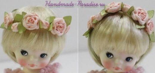 Ободок с розочками из ткани для куклы