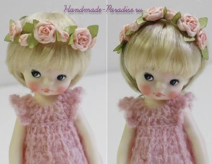 Ободок с розочками из ткани для куклы (4)