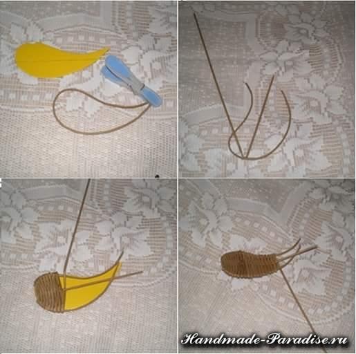 Плетение ангела из газетных трубочек (6)