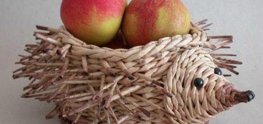 Плетение ежика из газетных трубочек