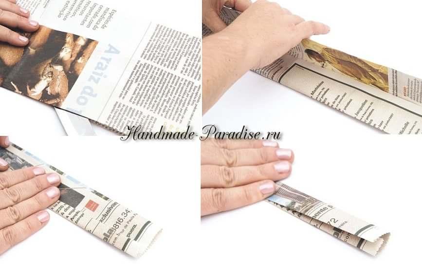 Плетение вазочки из газетных полосок (2)