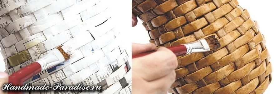 Плетение вазочки из газет (8)