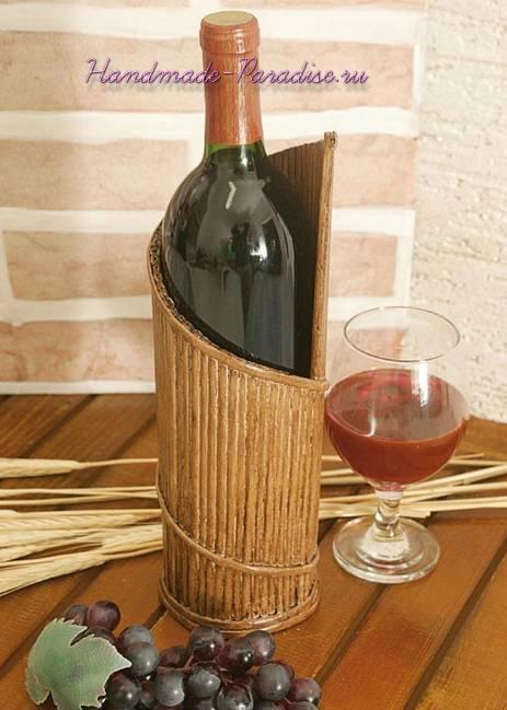 Подставка для бутылки из газетных трубочек (2)