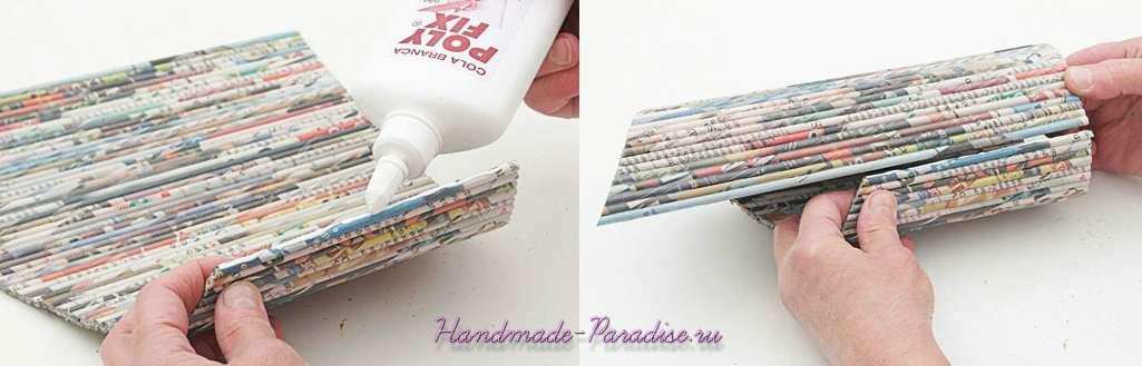 Подставка для бутылки из газет (8)
