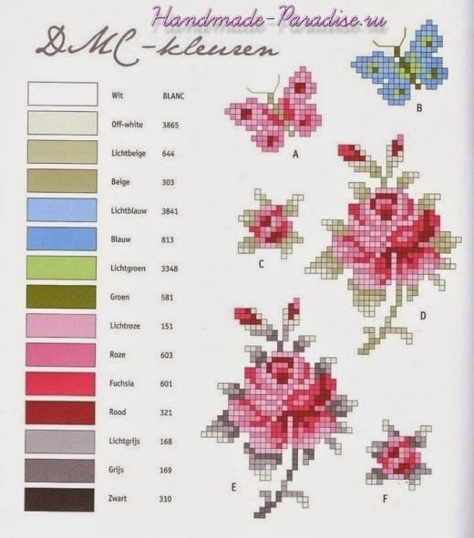 Схема вышивки крестом розы (2)