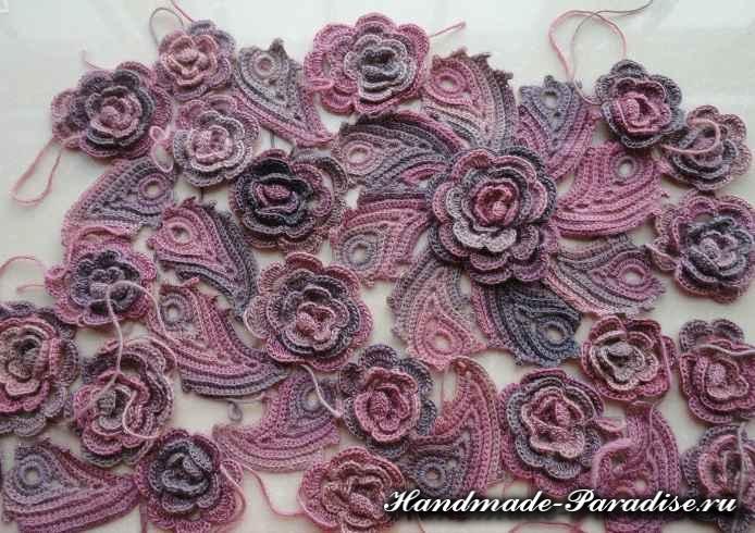 Цветочная шаль крючком (11)