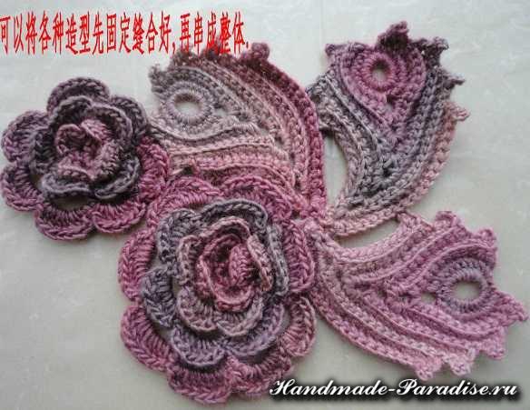 Цветочная шаль крючком (2)