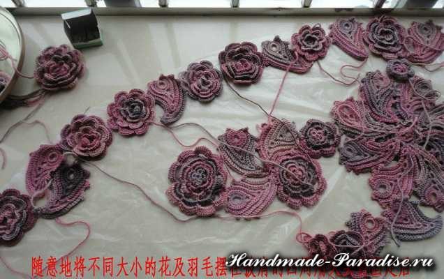 Цветочная шаль крючком (3)