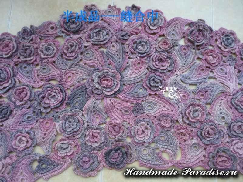 цветочные шали крючком со схемами