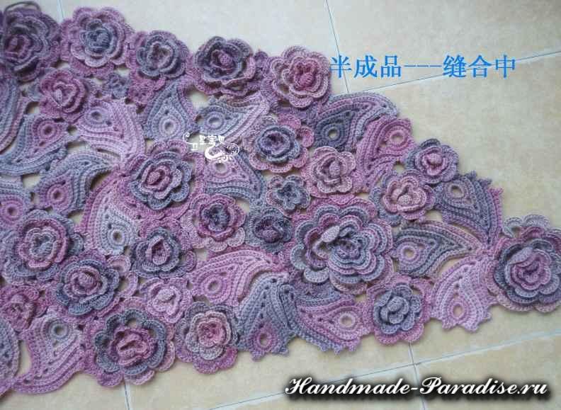 Цветочная шаль крючком (5)