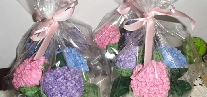 Цветы гортензии из ткани. Мастер-класс