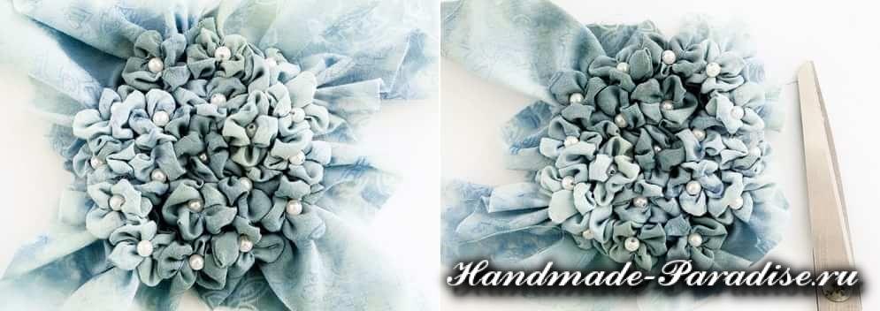 Цветы гортензии из ткани (3)