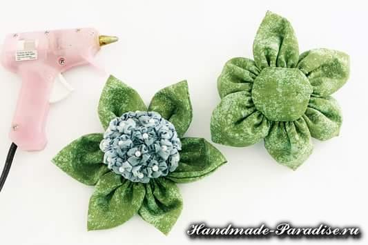 Цветы гортензии из ткани (6)