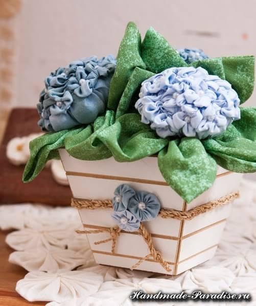 Цветы гортензии из ткани (8)