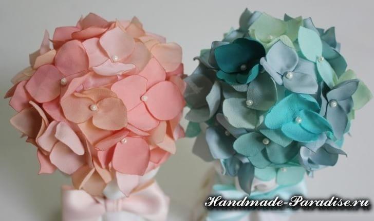 Топиарий с цветами гортензии из ткани (2)