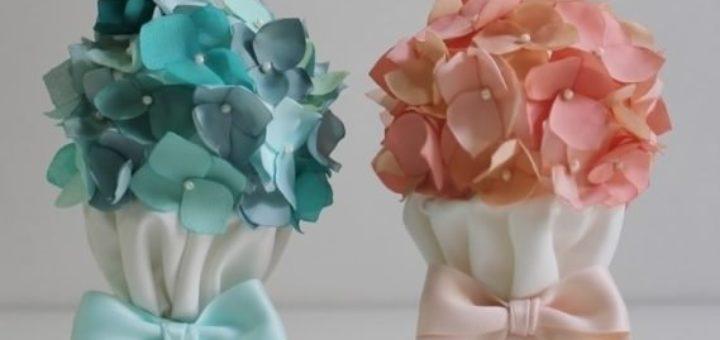 Топиарий с цветами гортензии из ткани