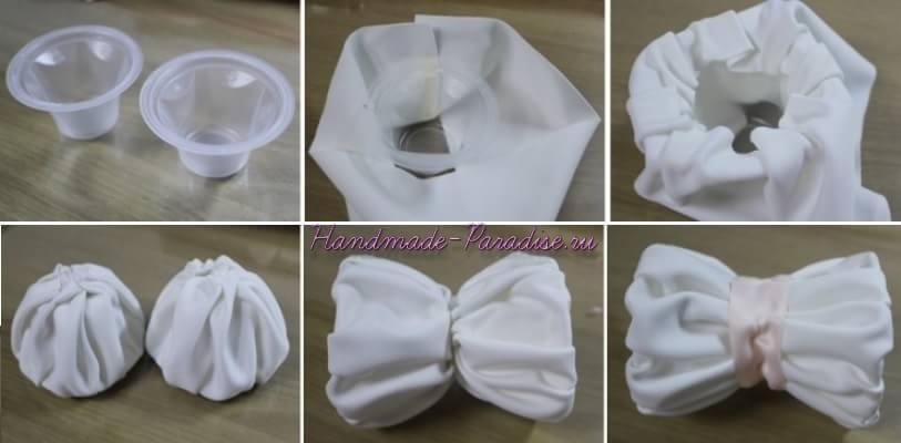 Топиарий с цветами гортензии из ткани (5)