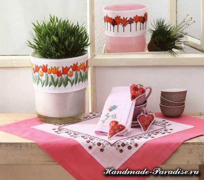 Тюльпаны и валентинки. Весенняя вышивка крестом