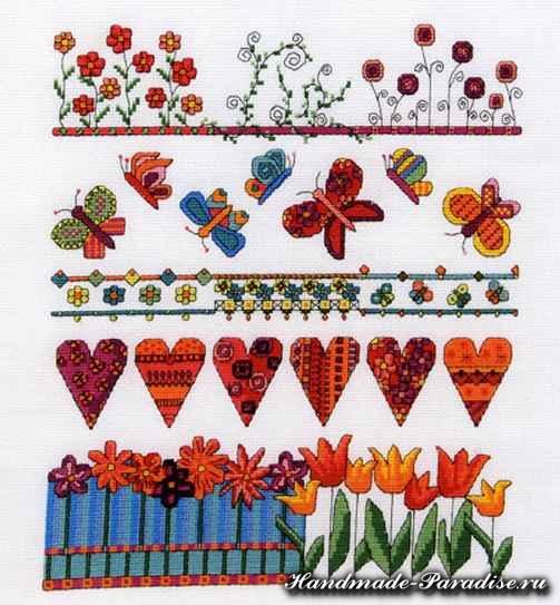 Тюльпаны и валентинки. Весенняя вышивка крестом (5)