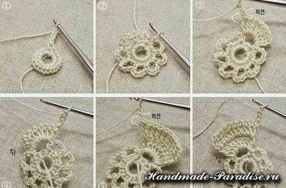 Вязание сумки крючком объемными цветами (2)