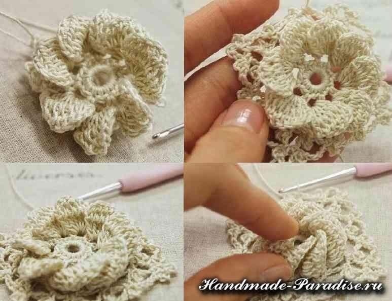 Вязание сумки крючком объемными цветами (4)