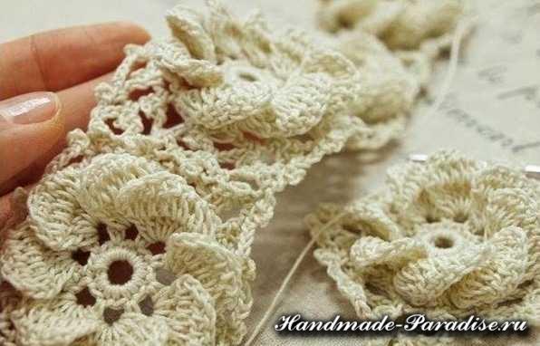 Вязание крючком объемными цветами (5)