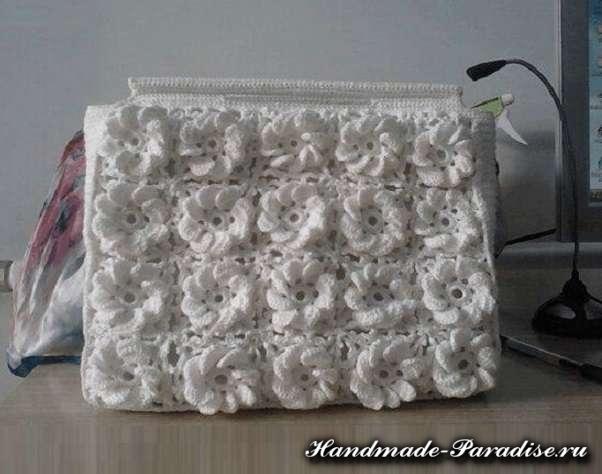 Вязание сумки крючком объемными цветами (6)