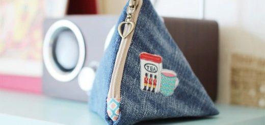 Как сшить треугольный кошелек из джинсов