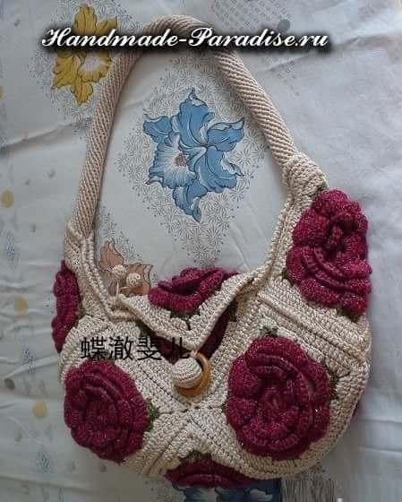 сумки крючком с розами