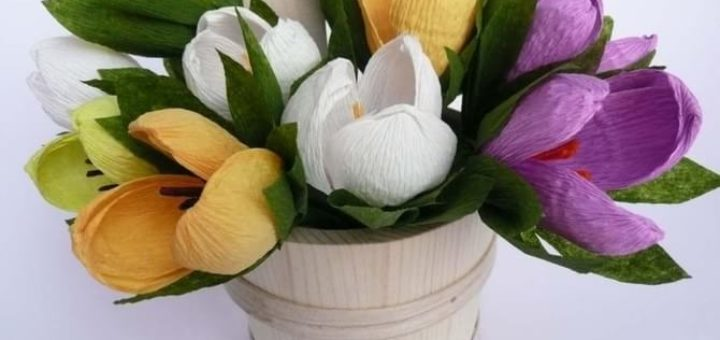 Весенние цветы из гофрированной бумаги