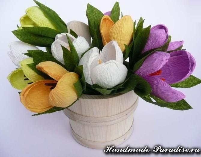 Весенние цветы из гофрированной бумаги (12)
