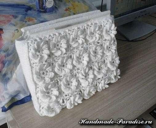 Вязание сумки объемными цветами (8)