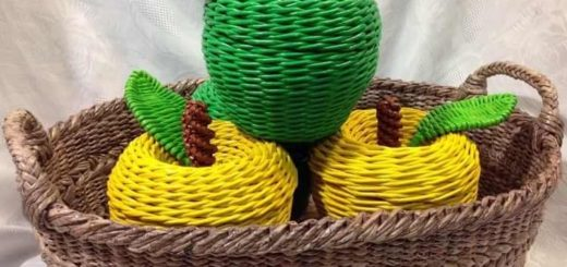 Плетение яблока из газетных трубочек