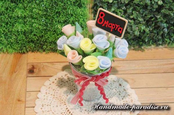 Букет цветов из фетра к 8 марта (8)
