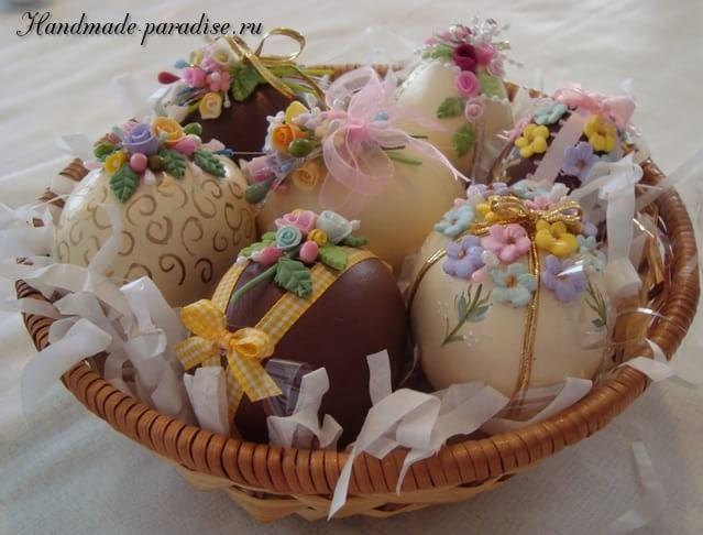 Декор пасхальных яиц сладкими розочками (5)
