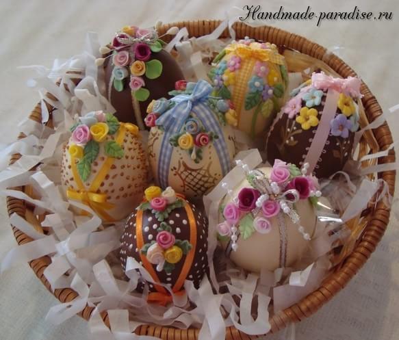 Декор пасхальных яиц сладкими розочками (6)