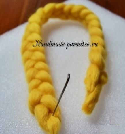 Декорирование ободка для волос пряжей (3)