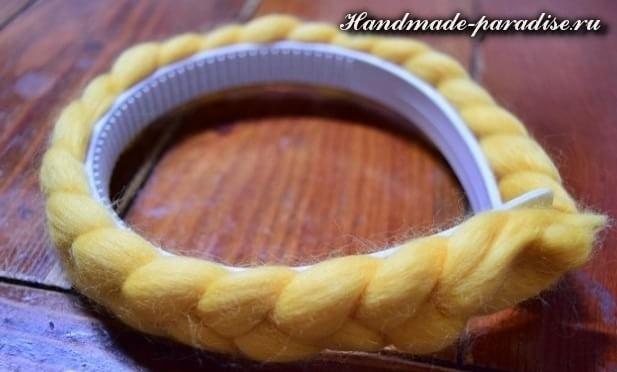 Декорирование ободка для волос пряжей (4)