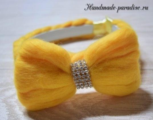 Декорирование ободка для волос шерстью для валяния (10)